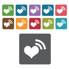 Heart wave icons set. Rectangle colourful 12 buttons. Vector ill