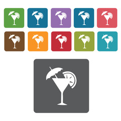 Martini glass with lime icons set. Rectangle colourful 12 button