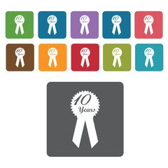 10 years ribbon s set. Rectangle colourful 12 buttons. Vector il