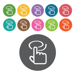 touchpad circle icons set. Round colourful 12 buttons. Vector il