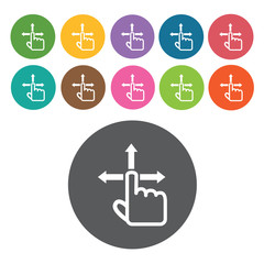 direction icons set. Round colourful 12 buttons. Vector illustra