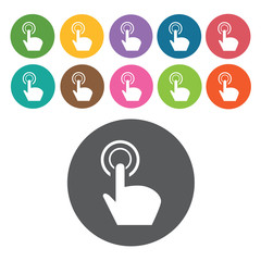 touchpad click icons set. Round colourful 12 buttons. Vector ill