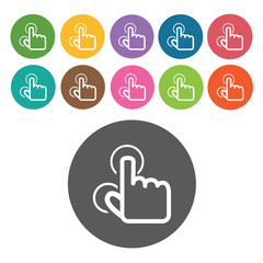 touchpad zoom in icons set. Round colourful 12 buttons. Vector i