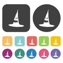 Halloween hat icons set. Round and rectangle colourful 12 button