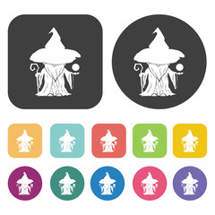 Witch icons set. Round and rectangle colourful 12 buttons. Vecto