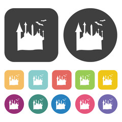 Halloween castle icons set. Round and rectangle colourful 12 but