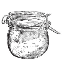 Vector hand drawn glass jar graphic.