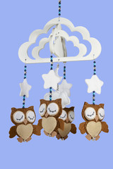 Four Felt Owls on Beaded Baby Cot Mobile