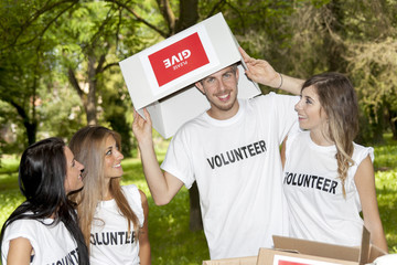 group of teenagers volunteering