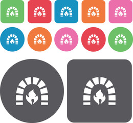 Fire place icons set. Round and rectangle colourful 12 buttons.