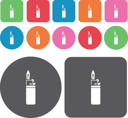 Lighter icons set. Round and rectangle colourful 12 buttons. Vec