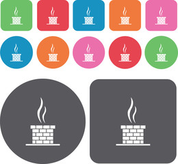 Chimney icons set. Round and rectangle colourful 12 buttons. Vec