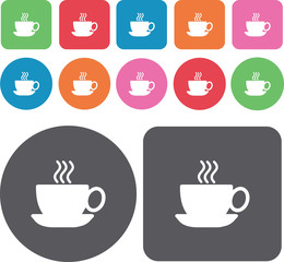 Hot coffee icons set. Round and rectangle colourful 12 buttons.