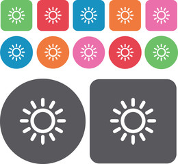 Sun rays icons set. Round and rectangle colourful 12 buttons. Ve