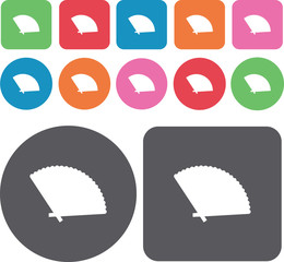 Paper fan icons set. Round and rectangle colourful 12 buttons. V