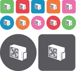 Electric fan icons set. Round and rectangle colourful 12 buttons