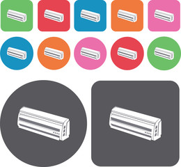 Airconditioner system icons set. Round and rectangle colourful 1