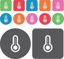 Thermometer icons set. Round and rectangle colourful 12 buttons.