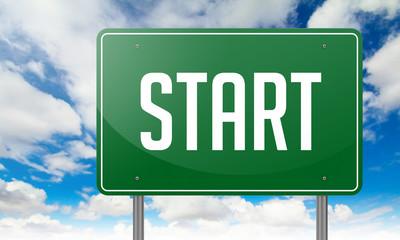 Start on Green Highway Signpost.