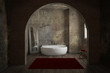 canvas print picture - Vintage bathroom with brick wall