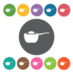 Sauce pan icons set. Round colourful 12 buttons. Vector illustra