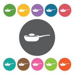 Pan icons set. Round colourful 12 buttons. Vector illustration e