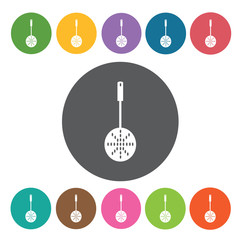 Frying spatula icons set. Round colourful 12 buttons. Vector ill