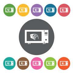 Oven toaster icons set. Round colourful 12 buttons. Vector illus
