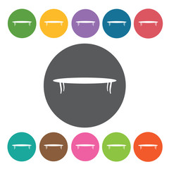 Dining table icons set. Round colourful 12 buttons. Vector illus