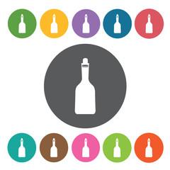 Oil bottle icons set. Round colourful 12 buttons. Vector illustr
