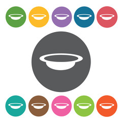 Soup bowl icons set. Round colourful 12 buttons. Vector illustra