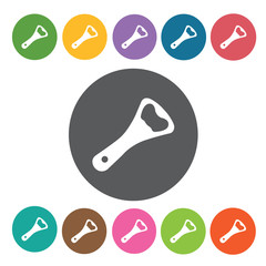 Bottle opener icons set. Round colourful 12 buttons. Vector illu