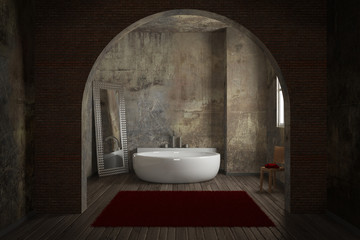 Vintage bathroom with brick wall