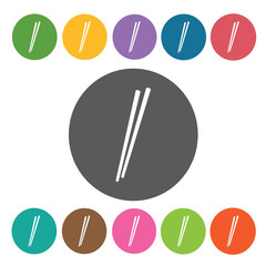 Chopsticks icons set. Round colourful 12 buttons. Vector illustr