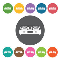 Stove icons set. Round colourful 12 buttons. Vector illustration