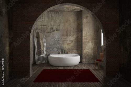 canvas print picture Vintage bathroom with brick wall