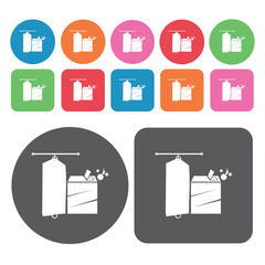 Liquid detergent icons set. Round colourful 12 buttons. Vector i