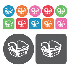 Laundry basket icons set. Round colourful 12 buttons. Vector ill