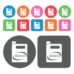 Bleach icons set. Round colourful 12 buttons. Vector illustratio