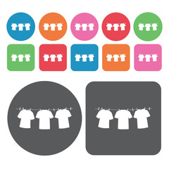 Drying clothes icons set. Round colourful 12 buttons. Vector ill