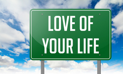Love of Your Life on Green Highway Signpost.