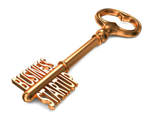 Business Startup - Golden Key on White Background.