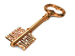 Business Startup - Golden Key on White Background.