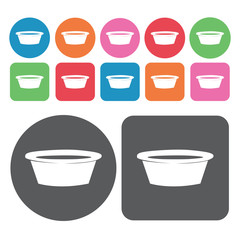 Laundry basin icons set. Round colourful 12 buttons. Vector illu