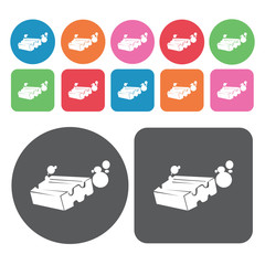 Detergent bar icons set. Round colourful 12 buttons. Vector illu