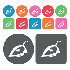 Iron icons set. Round colourful 12 buttons. Vector illustration