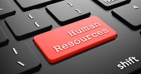 Human Resources on Red Keyboard Button.
