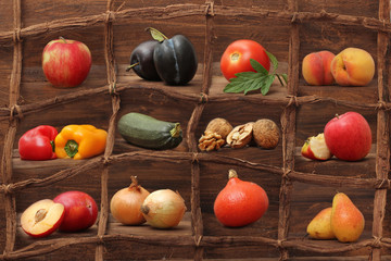 Composition of fruits and vegetables framed in wood