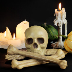 burning candle and  skull. Halloween image