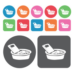 Laundry icons set. Round colourful 12 buttons. Vector illustrati
